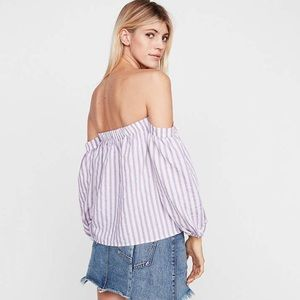 Express Purple White Stripe Off The Shoulder Top